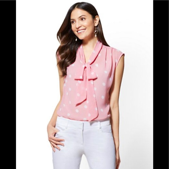 New York & Company Tops - NWOT New York and Company pink bow blouse
